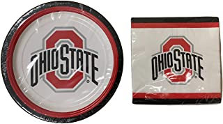 Ohio State Party Supplies: Large Paper Plates and Napkins for Tailgating, Birthday, Graduation Bundle Serves 20