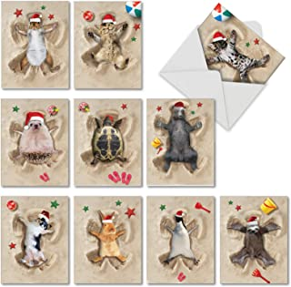 Holiday Sand Angels - 10 Assorted Animal Merry Christmas Note Cards with Envelopes (4 x 5.12 Inch) - Animal Beach Vacation, Xmas Happy Holiday Cards for Kids - Pet Dog, Cat, Wildlife AM6844XSG-B1x10
