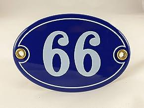 Emaille huisnummerbordje nr. 66, ovaal, blauw-wit Nr. 66 Blau-Weiß
