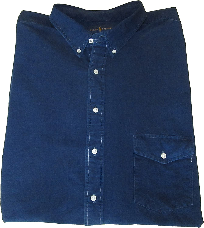 Ralph Lauren Polo Mens Big and Tall Indigo Oxford Shirt Blue