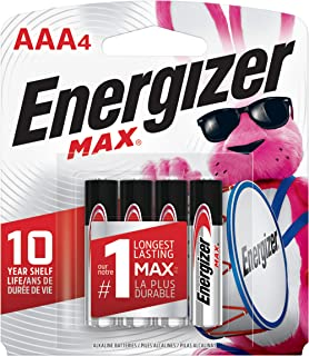 Energizer AAA Batteries (4 Count), Double A Max Alkaline Battery – Packaging May Vary