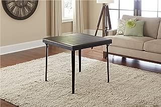 Cosco 14260ESPE Folding Wood Table Square with Vinyl Inset, Espresso Black