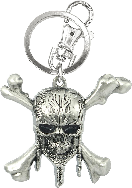 Disney Pirates of The Caribbean Skull Logo Pewter Key Ring, 3