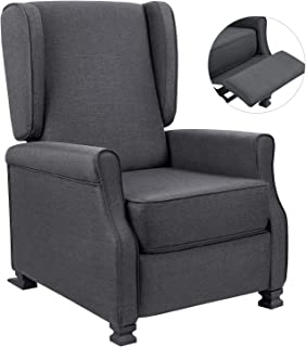 Homall Fabric Recliner Chair Modern Wingback Single Sofa Medieval Living Room Arm Chair Home Theater Seating Push Back Club Chair Reclining (Gray)