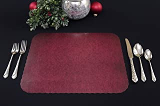 Neumark deSign & Print Scalloped Paper Placemats, 50 Pack (Xmas, Christmas, Decoration, Holiday, Wedding, Banquet) Wine Granite