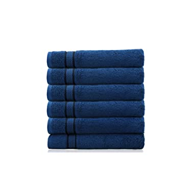 COTTON CRAFT - 6 Pack - Ultra Soft Extra Large Hand Towels 16x28 Night Sky- 100% Pure Ringspun Cotton - Luxurious Rayon Trim - Ideal for Daily Use - Each Towel Weighs 6 Ounces