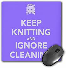 "3dRose Keep knitting & Ignore Cleaning, Purple Mouse Pad, 8"" x 8"" (mp_171980_1)"