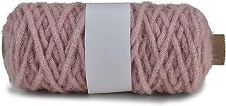 Fil macramé 5 mm x 50 m, rose | Cordon naturel en laine avec jute pour bricoler, crochet, tricot, nouer | pour panier susp...