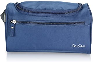 (Navy) - ProCase Toiletry Bag Travel Case with Hanging Hook, Organiser for Accessories, Shampoo, Cosmetic, Personal Items, Healthcare Bag with Handle, Navy Blue