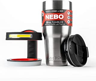 NEBO 6779 Glow Flashlight Handle Combined With 30 Ounce Stainless Steel Tumbler and Anti Spill Lid Which Also Includes Insert To Hold 20 Ounce Tumbler