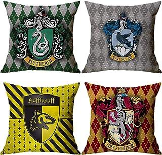 Lufria Juego de 4 Fundas de cojín Harry Potter Fundas de Almohada Decorativas Throw Pillows Fundas Sofá Funda de Almohada Funda de cojín Sofá 45x45cm