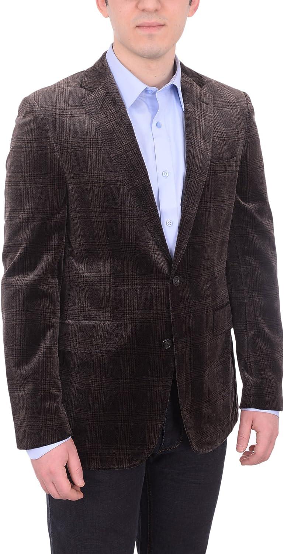 Napoli Mens Brown Velour Plaid Half Lined Marzotto Cotton Blazer Sportcoat