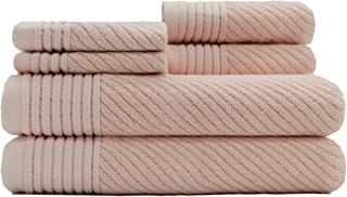Caro Home Beacon Pink 6 Piece Bath Towel Set - 2 Bath Towels 2 Hand Towels 2 Face Towels - 100% Combed Cotton Premium Quality Solid Color, Thick and Heavy Weight Plush Absorbent 550 GSM