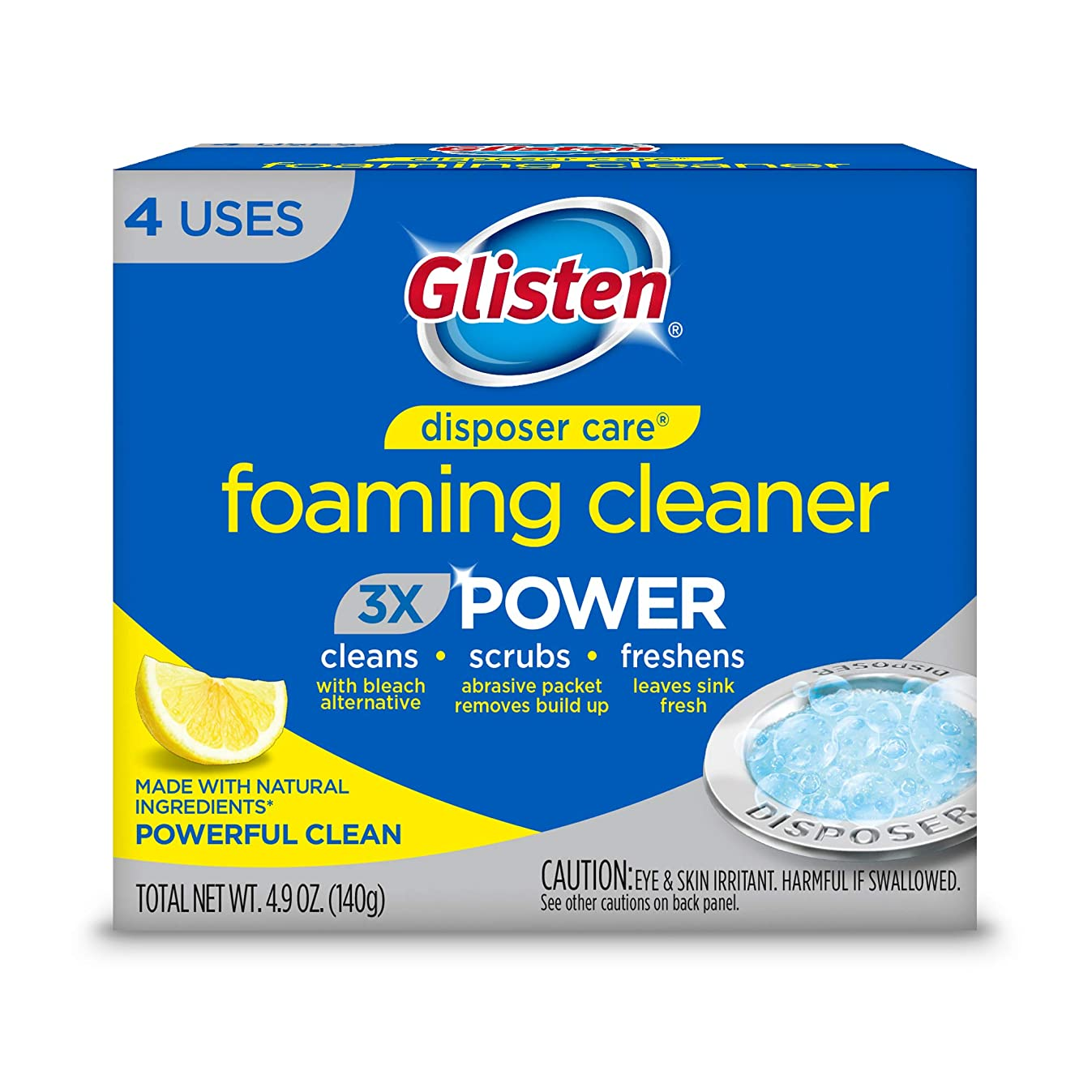 Glisten DP20B Disposer Care Foaming Garbage Disposer Cleaner-Twenty Pack (20 Uses)-Powerful Disposal Cleanser for Complete Cleaning of Entire Disposer-Lemon Scented, 24.5 oz