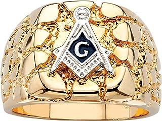 Palm Beach Jewelry Men's 14K Yellow Gold Plated Masonic Insignia Nugget Ring