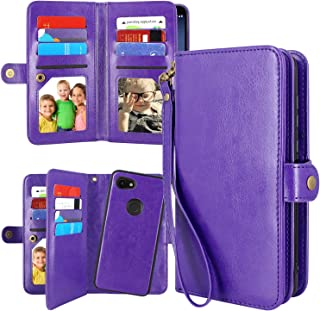 Pixel 3a XL Case Wallet, Harryshell Detachable Magnetic 12 Card Slots Wallet Case Shockproof PU Leather Flip Protective Cover Wrist Strap for Google Pixel 3a XL (2019) (Purple)