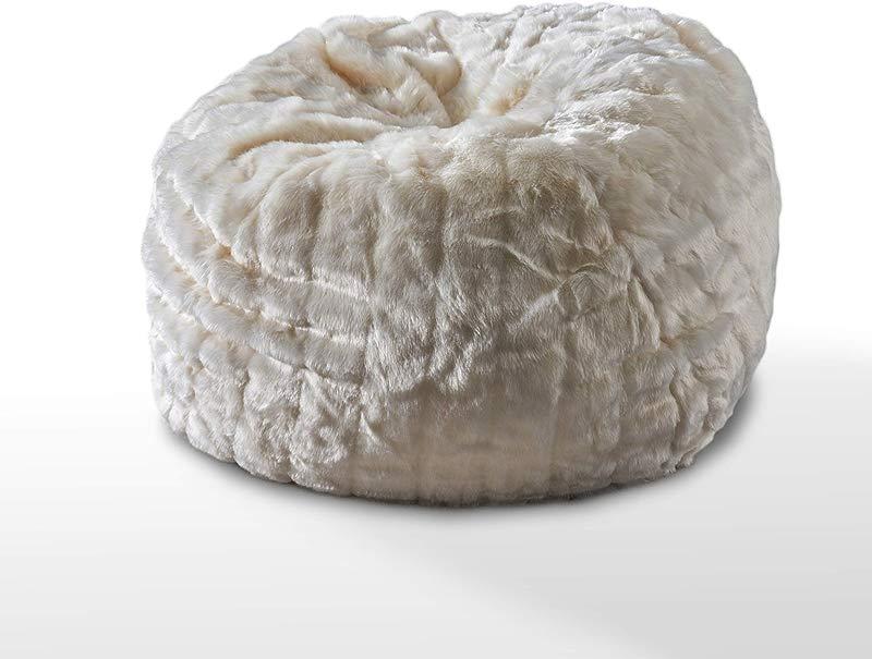 Great Deal Furniture 304238 Laraine Furry Glam White Faux Fur 3 Ft Bean Bag