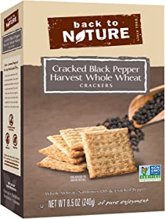 Back to Nature Crackers, Non-GMO Cracked Black Pepper Harvest Whole Wheat, 8.5 Ounce (Packaging May Vary)