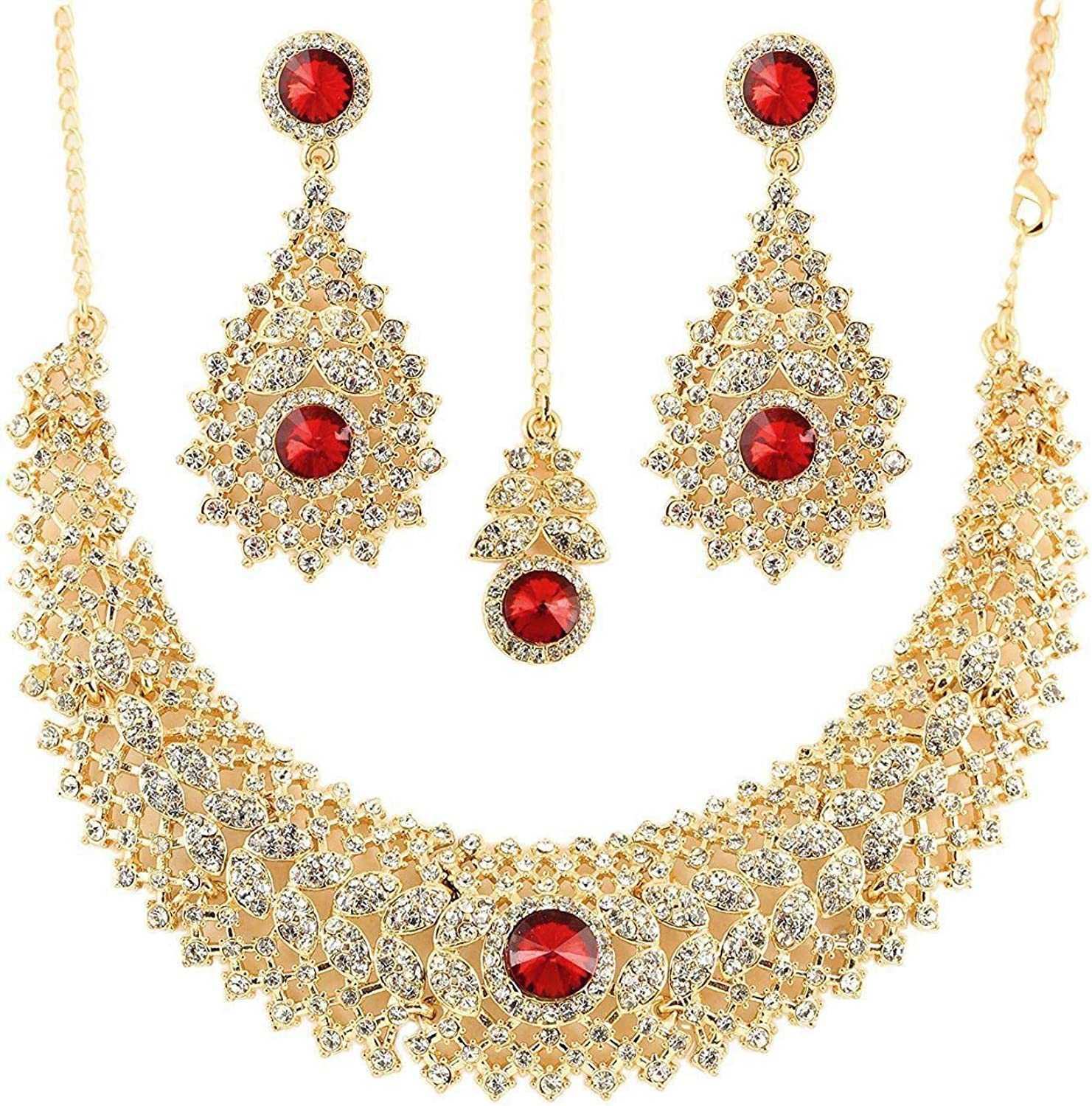 Crunchy Fashion Traditional Indian Bollywood White Rhinestones Red Crystal Stunning Bridal Jewelry Necklace Set for Women