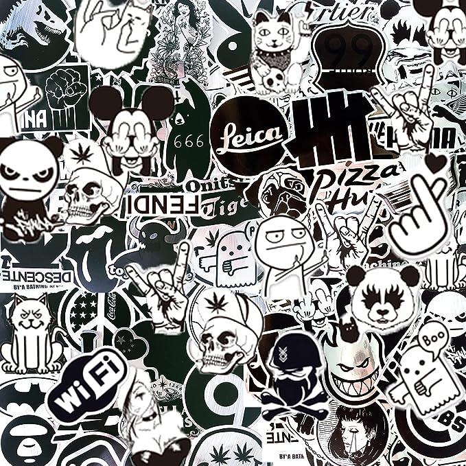 LeQin Graffiti stickers (100 pieces), metal stickers, vinyl, silver colour, black, laptop stickers, motorcycle, skateboard, luggage. : Amazon.co.uk: Electronics & Photo