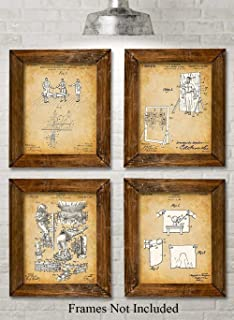 Original Magic Tricks Patent Prints - Set of Four Photos (8x10) Unframed - Makes a Great Gift Under $20 for Magicians