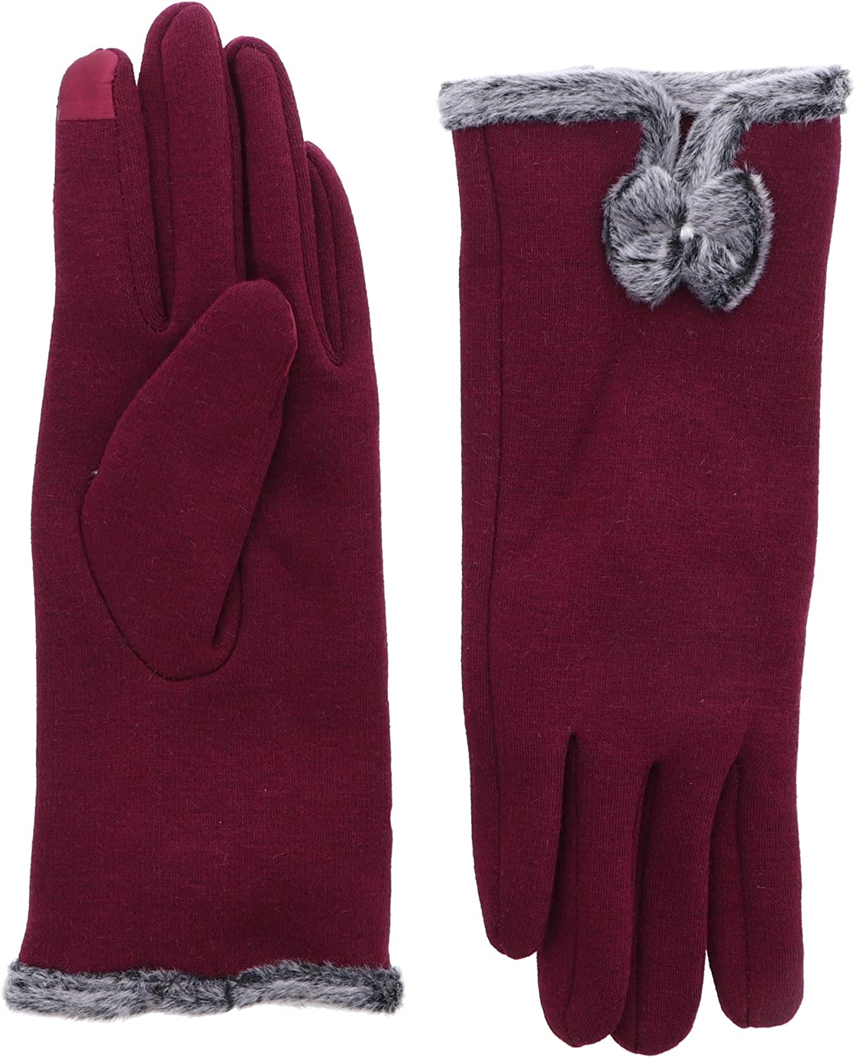 Ladies Winter Jersey Touchscreen Gloves With Fur Bow