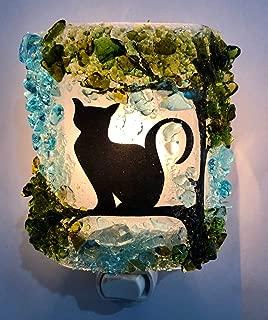 Kitty Cat Tree Artisan Made Recycled Bottle Glass Art Night Light Nightlight Nite Lite Purrfect Gift