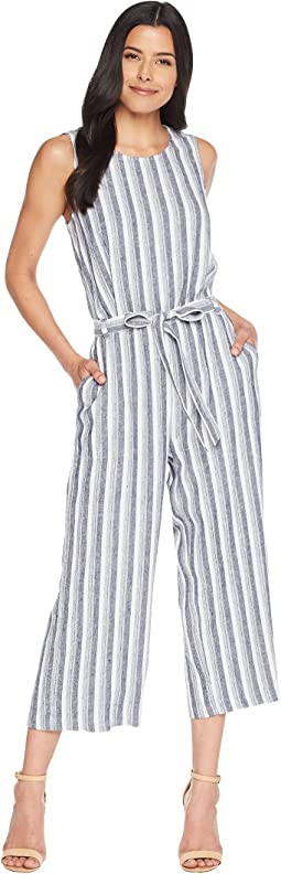 Sleeveless Shore Linen Stripe Belted Jumpsuit