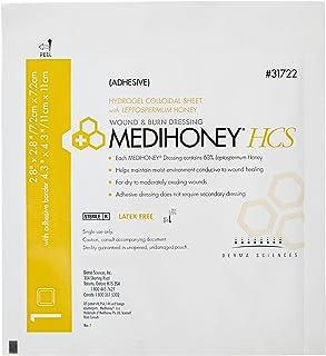 Derma Sciences 31722 Medihoney Dressing Hydrogel Colloidal Sheet, Adhesive, 2.8