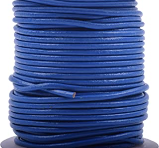 KONMAY 25 Yards 2.0mm Royal Blue Solid Round Genuine/Real Leather Cord Braiding String (2.0MM, Royal Blue)