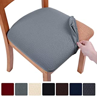 smiry Stretch Spandex Jacquard Dining Room Chair Seat Covers, Removable Washable Anti-Dust Dinning Upholstered Chair Seat Cushion Slipcovers - Set of 4, Grey