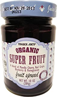 Trader Joe's Organic Super Fruit A Blend of Morella Cherry, Red Grape, Blueberry & Pomegranate Fruit Spread