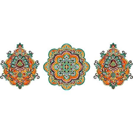 "Real Art   Block Décor   Wall Hanging Plates   Bone China   7"" - 3 pcs Set Multicolor"