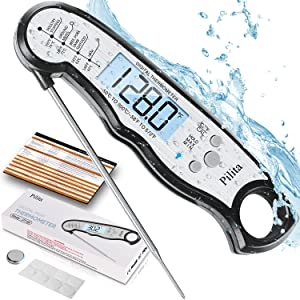 Pilita Digital Instant Read Meat Thermometer for Cooking, Fast & Precise Grill Food Thermometer with Backlight, Magnet, Calibration, and Foldable Probe for Deep Fry, BBQ, Grill, and Roast Turkey