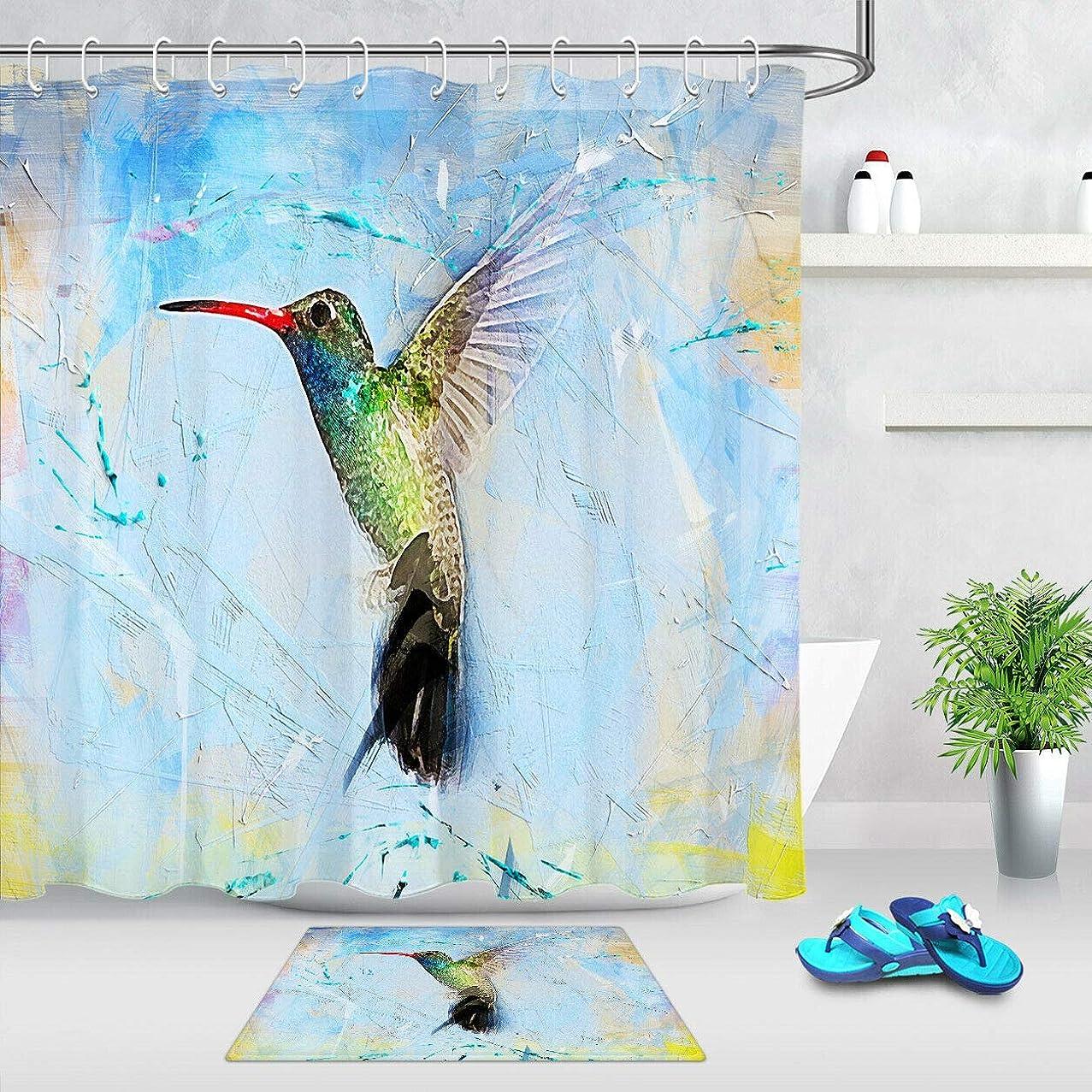 宗教混乱作動するAmxxy 水彩バスマットバスルームカーテン水彩水彩画鳥水彩防水布セットフランネル滑り止めバスマット付属12プラスチックフックバスルームシャワーホテル