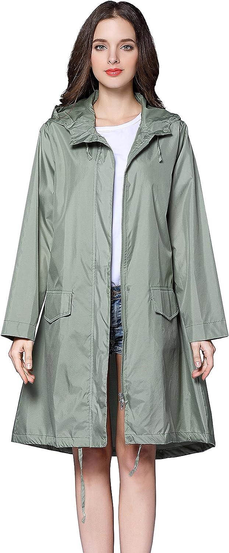 Aeman Women's Raincoat Waterproof Portable Outdoor Rain Jacket Poncho with Hood and Zip
