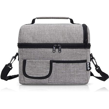 PuTwo Kühltasche 8L Lunch Tasche Isoliertasche Picknicktasche mit YKK Reißverschluss und verstellbarer Schultergurt - Grau
