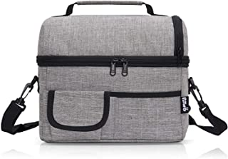PuTwo Lunch Bag 8L Insulated Lunch Bag Lunch Box Lunch Bags for Women Lunch Bag for Men Cooler Bag with YKK Zip and Adjustable Shoulder Strap Lunch Tote for Kids Lunch Box Bento Lunch Pail - Grey
