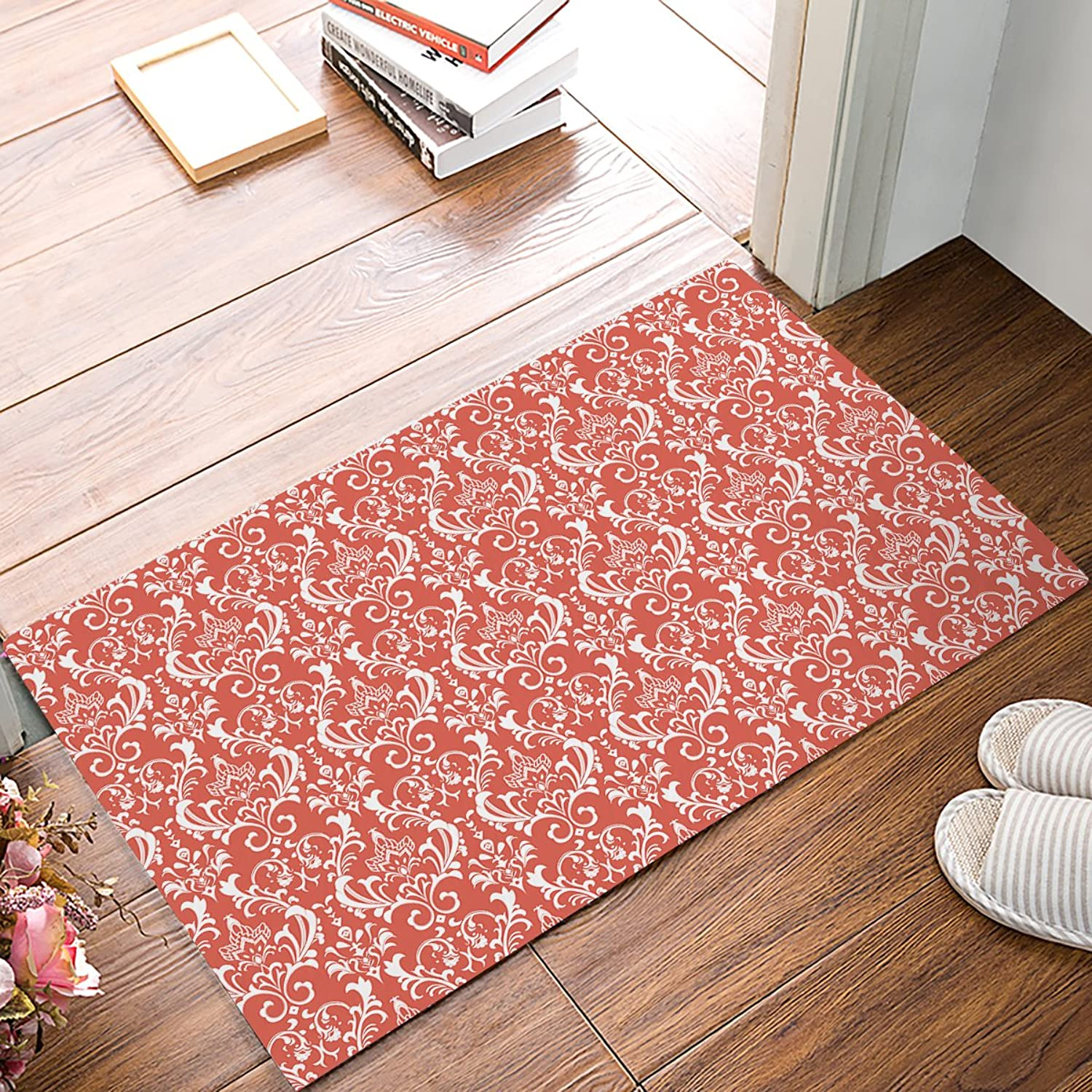 DaringOne Coral red Paisley Floral French Damask Pattern Indoor Outdoor Non-Slip Rubber Welcome Mats Floor Rug for Bathroom Front Entryway 30 (L) x 18 (W)