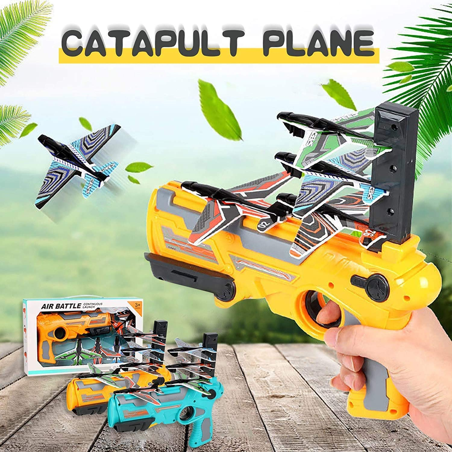 Bubble Catapult Airplane Orange + 4 Planes Toy Airplane Non-Slip Play effortlessly 4 Gliders one-Click pop-up Launcher Toy Streamlined Appearance
