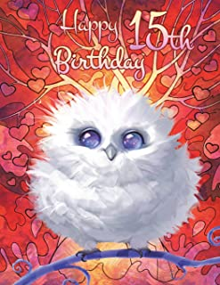 Happy 15th Birthday: Cute Fantasy Owl Discreet Internet Website Password Organizer, Birthday Gifts for 15 Year Old Boys or Girls, Kids, Teenagers, Son ... Friend, Large Print Book, Size 8 1/2