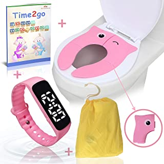 Toddler Potty Training Combo Kit by MH Essentials   Water Resistant Potty Training Watch for Toddlers & Foldable Portable Potty Seat Cover ● Bonus: Illustrated Potty Training E-Book Short Story