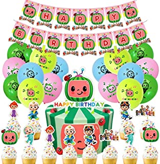 AM ANNA Cocomelon Party Supplies Decorations Birthday Party for Boys Girls Includes Happy Birthday Banner, Balloon, Cupcak...
