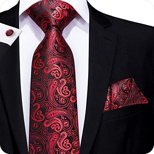 f6cddd2743 Hi-Tie Mens Red Tie Paisley Solid Floral Pattern Necktie and Pocket Square  Cufflinks Set