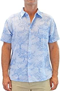 Men's Banyan Tree Short-Sleeve Linen Cotton Blend Casual Button Down Shirt