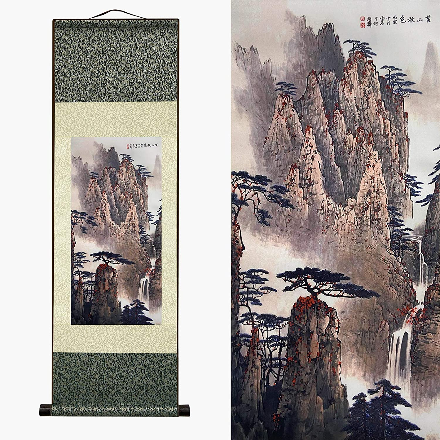 Asian Wall Decor Beautiful Silk Scroll Painting Waterfall River Landscape Painting - Autumn Huangshan Landscape Mountain Oriental Decor Chinese Wall Hanging Reel Scroll Painting (39 x 12 in)