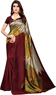 Anni Designer Art Silk with Blouse Piece Saree (MANCHANG-Brown Free)