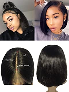 Lace Front Wigs 8 inch 1b Black Human Hair Wig 13x6 Straight Glueless Short Bob Cut Bleached Knots Pre Plucked with Baby Hair Middle/Free Part for Women Thickness 150% Density