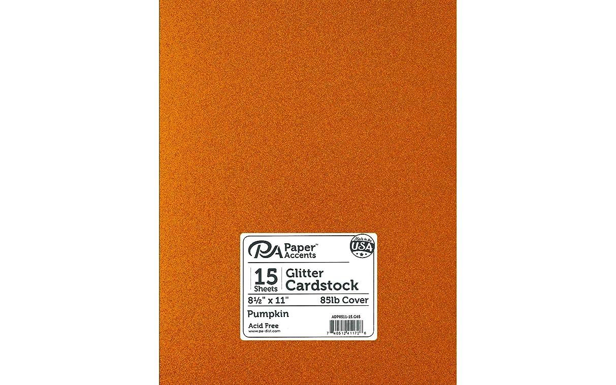 PA Paper Accents ADP8511-15.G65 Cdstk Glitter 8.5x11 Pumpkin