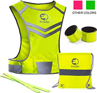 EvoLike Premium Reflective Vest of Unique Design for Running Walking Cycling Jogging Motorcycle with Pocket + 4 High Visibility Wristbands + Bag